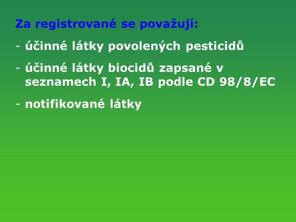 Za registrované se považují: účinné látky povolených pesticidů