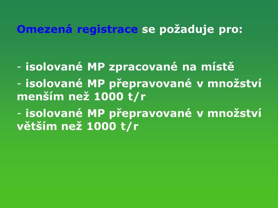 Omezená registrace se požaduje pro: