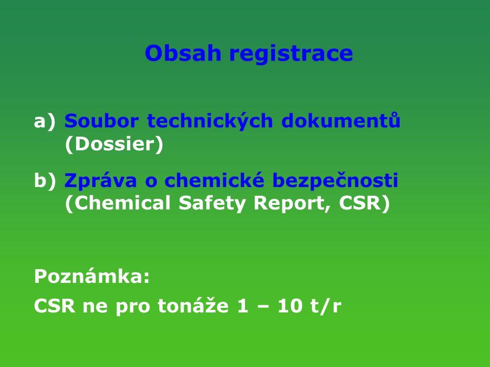 Obsah registrace Soubor technických dokumentů (Dossier)