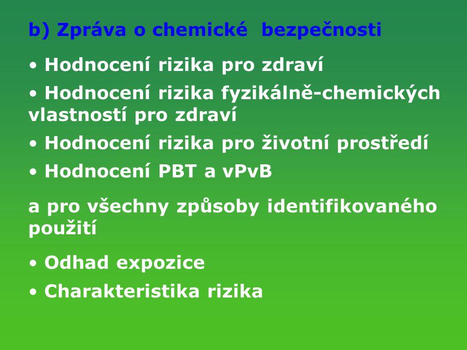 b) Zpráva o chemické bezpečnosti Hodnocení rizika pro zdraví