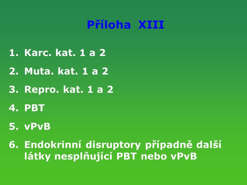 Příloha XIII Karc. kat. 1 a 2 Muta. kat. 1 a 2 Repro. kat. 1 a 2 PBT