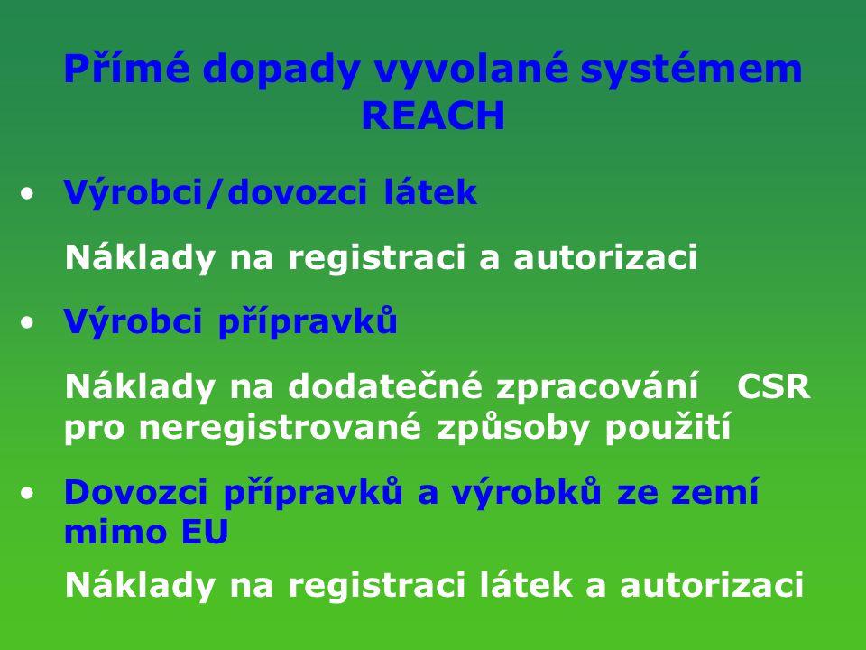 Přímé dopady vyvolané systémem REACH