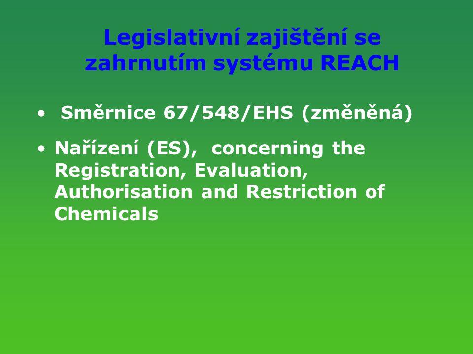 Legislativní zajištění se zahrnutím systému REACH