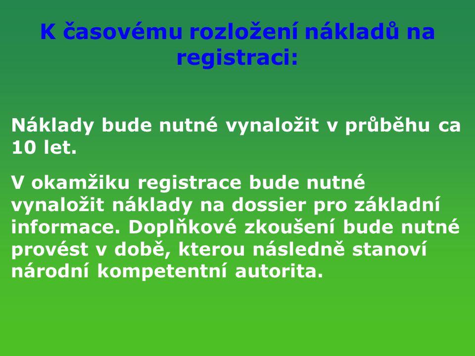 K časovému rozložení nákladů na registraci: