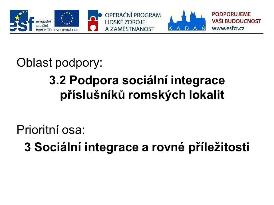 3.2 Podpora sociální integrace příslušníků romských lokalit