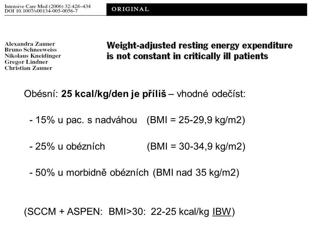 Obésní: 25 kcal/kg/den je příliš – vhodné odečíst: