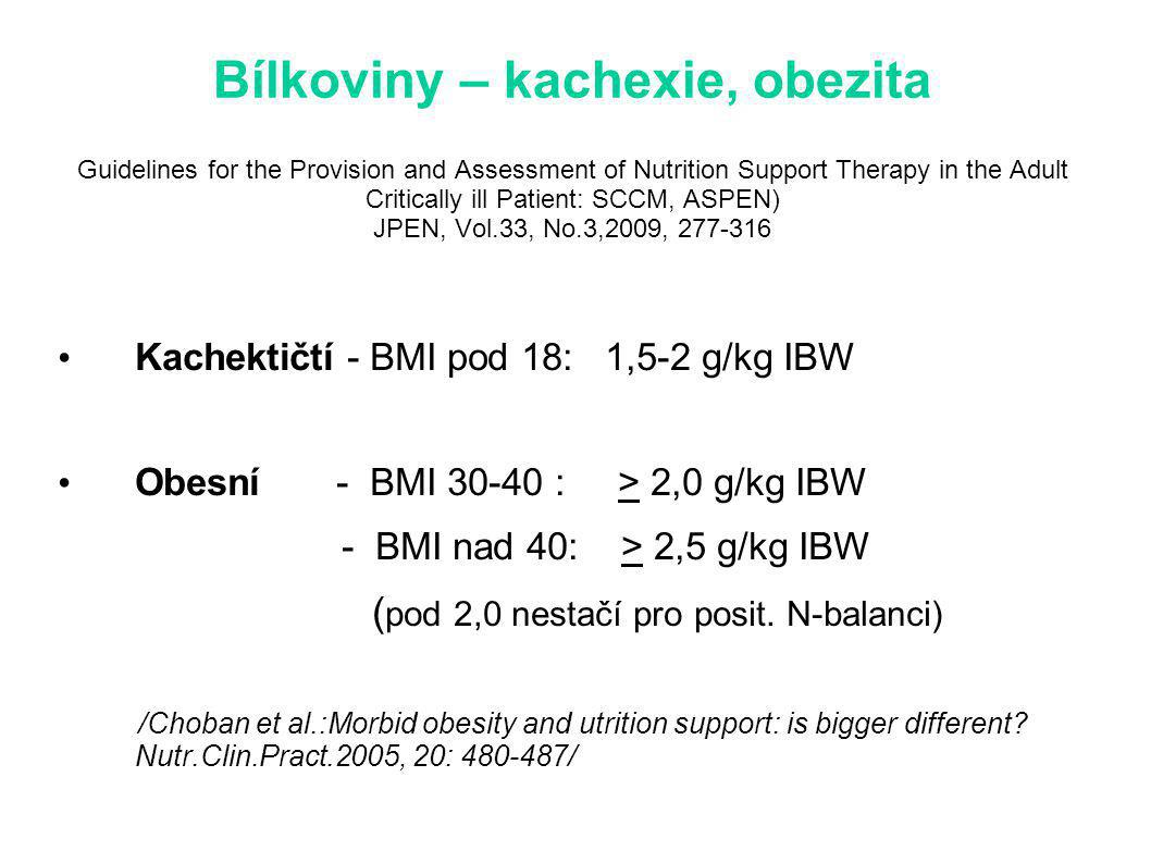 Bílkoviny – kachexie, obezita Guidelines for the Provision and Assessment of Nutrition Support Therapy in the Adult Critically ill Patient: SCCM, ASPEN) JPEN, Vol.33, No.3,2009, 277-316