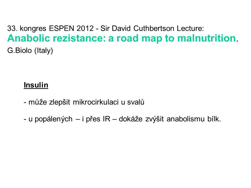 33. kongres ESPEN 2012 - Sir David Cuthbertson Lecture: Anabolic rezistance: a road map to malnutrition. G.Biolo (Italy)
