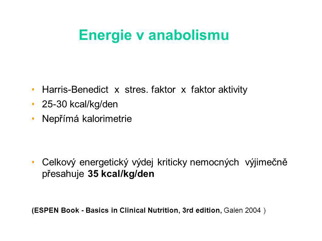 Energie v anabolismu Harris-Benedict x stres. faktor x faktor aktivity