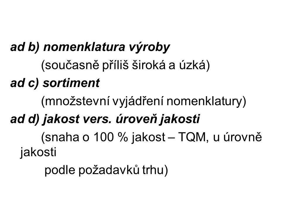 ad b) nomenklatura výroby