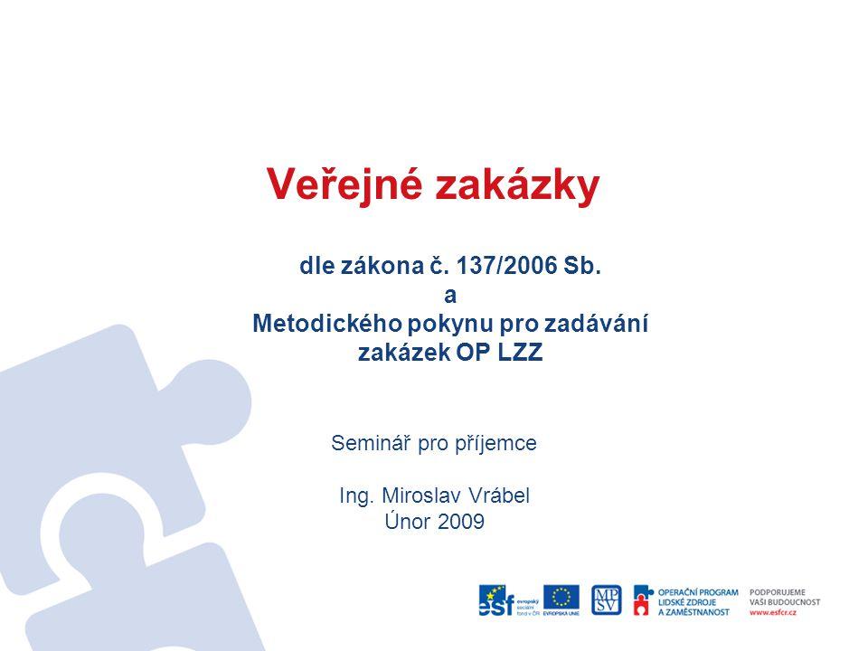 Veřejné zakázky dle zákona č. 137/2006 Sb. a Metodického pokynu pro zadávání zakázek OP LZZ. Seminář pro příjemce.