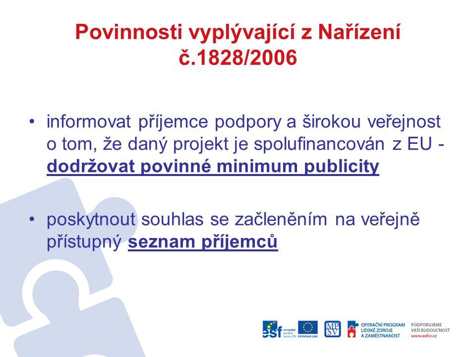 Povinnosti vyplývající z Nařízení č.1828/2006