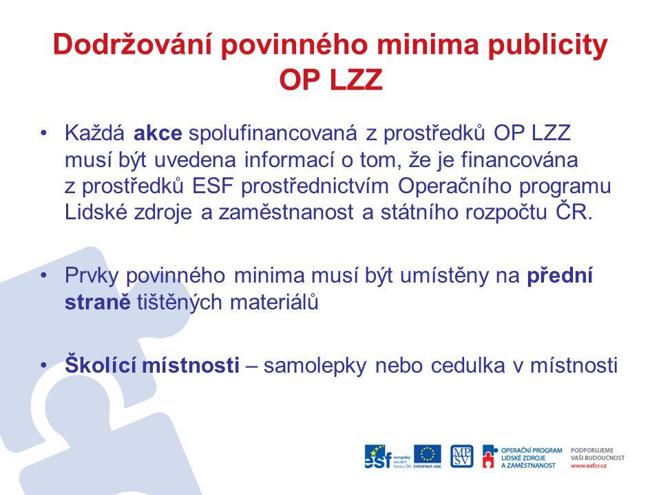 Dodržování povinného minima publicity OP LZZ