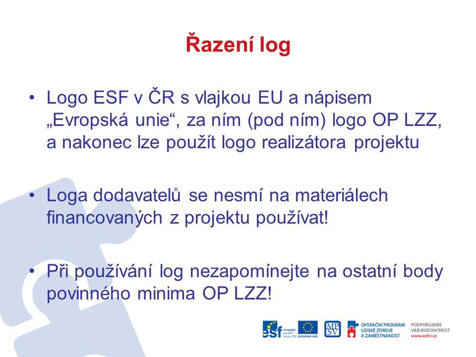 """Řazení log Logo ESF v ČR s vlajkou EU a nápisem """"Evropská unie , za ním (pod ním) logo OP LZZ, a nakonec lze použít logo realizátora projektu."""