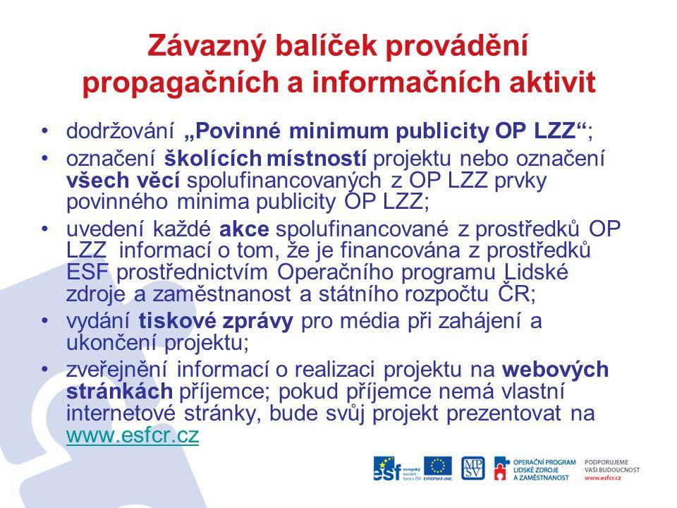 Závazný balíček provádění propagačních a informačních aktivit