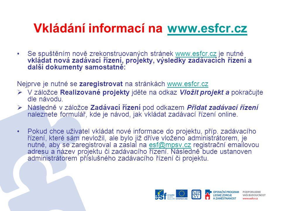 Vkládání informací na www.esfcr.cz