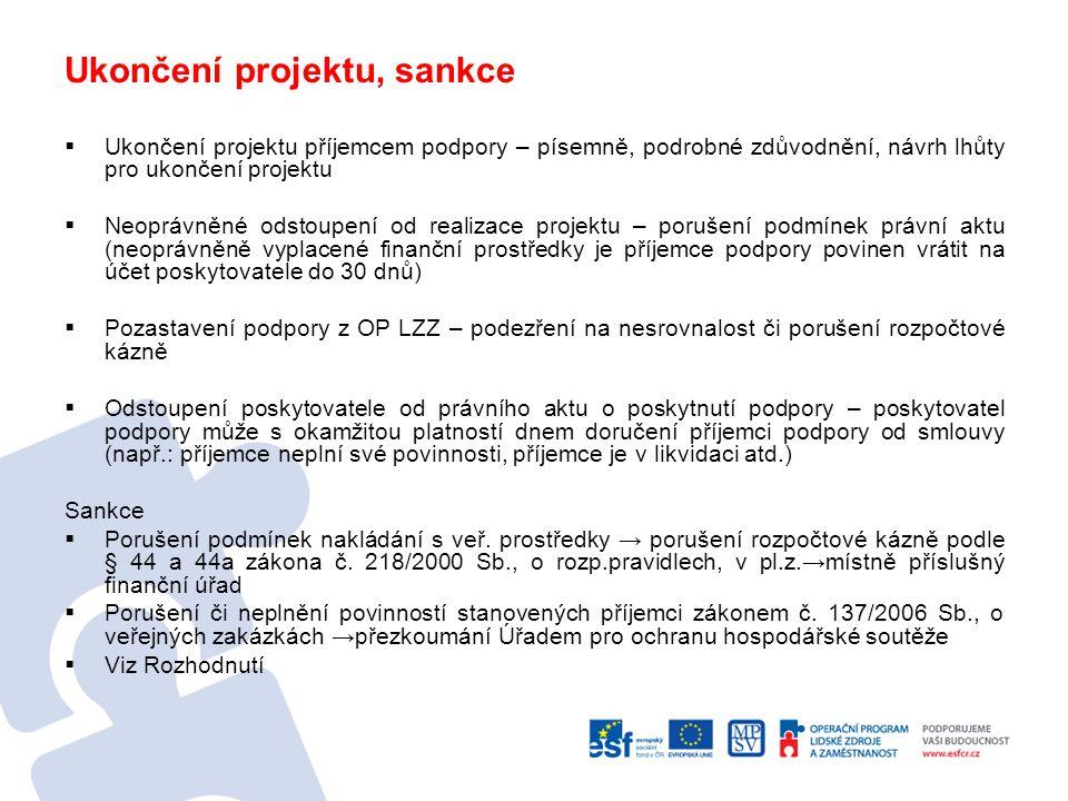 Ukončení projektu, sankce