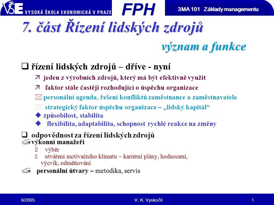 7. část Řízení lidských zdrojů význam a funkce