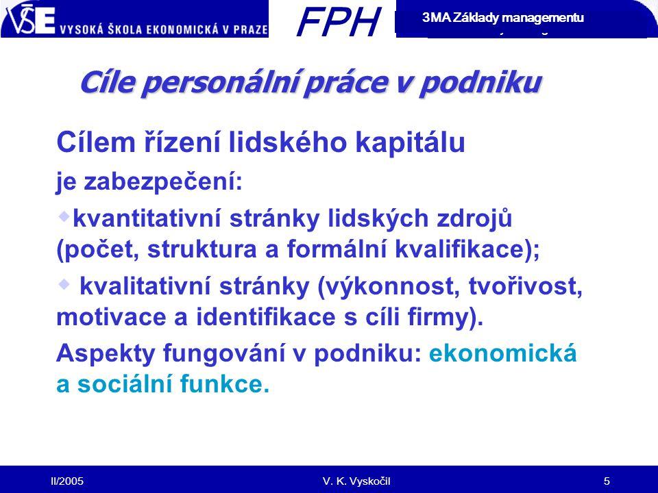 FPH Cíle personální práce v podniku Cílem řízení lidského kapitálu