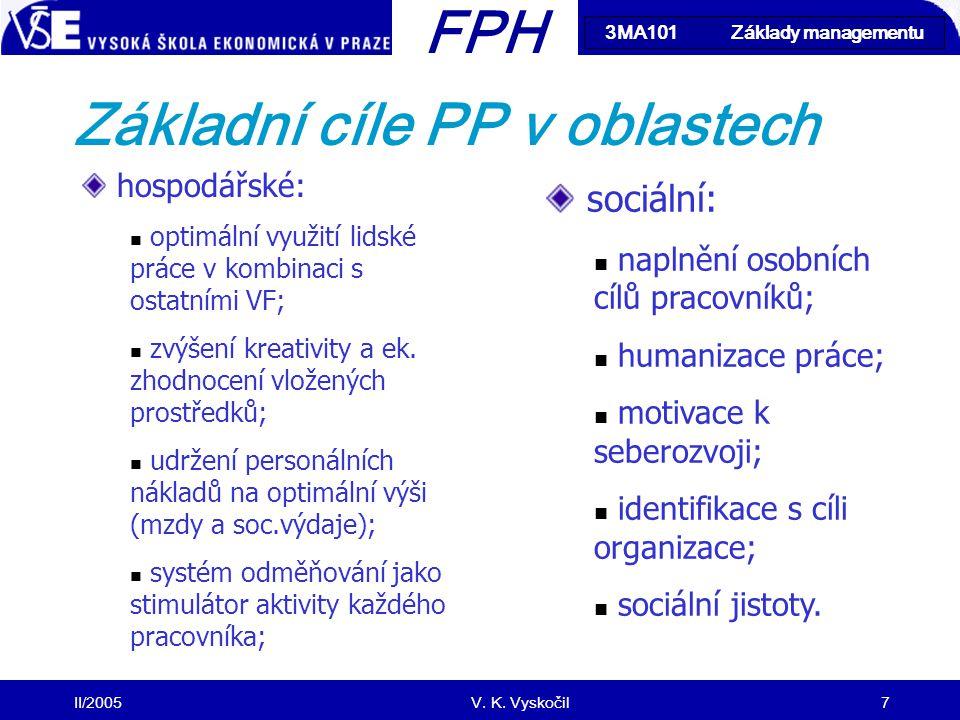 Základní cíle PP v oblastech