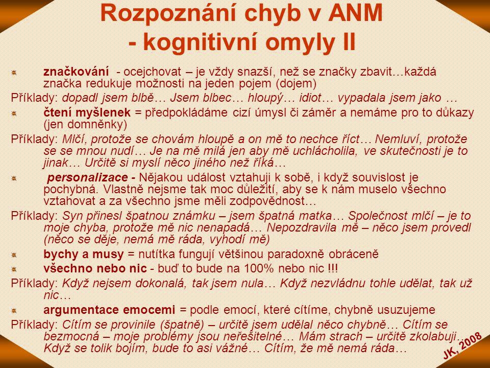 Rozpoznání chyb v ANM - kognitivní omyly II