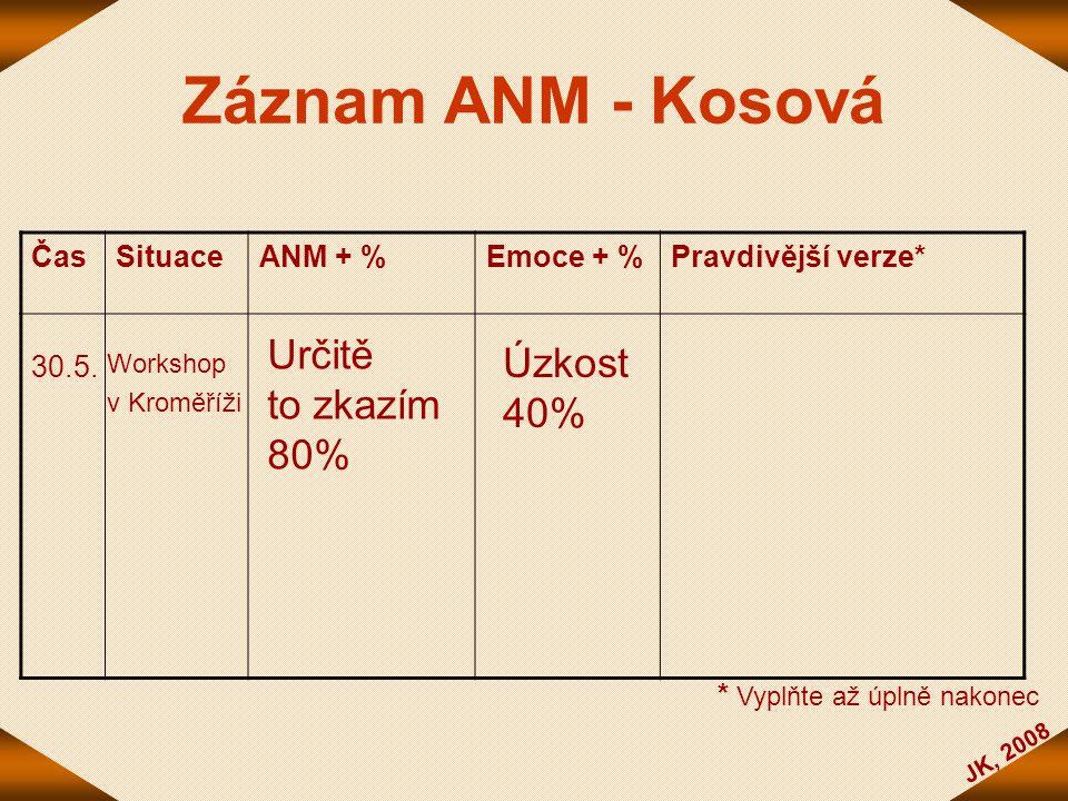 Záznam ANM - Kosová Určitě Úzkost to zkazím 40% 80% Čas Situace