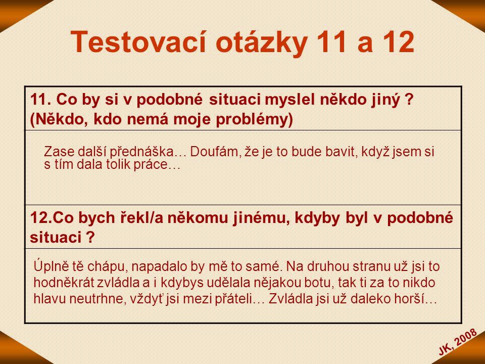 Testovací otázky 11 a 12 11. Co by si v podobné situaci myslel někdo jiný (Někdo, kdo nemá moje problémy)
