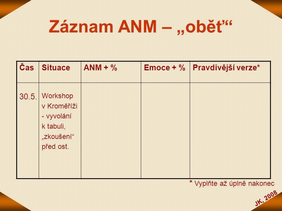 """Záznam ANM – """"oběť Čas Situace ANM + % Emoce + % Pravdivější verze*"""