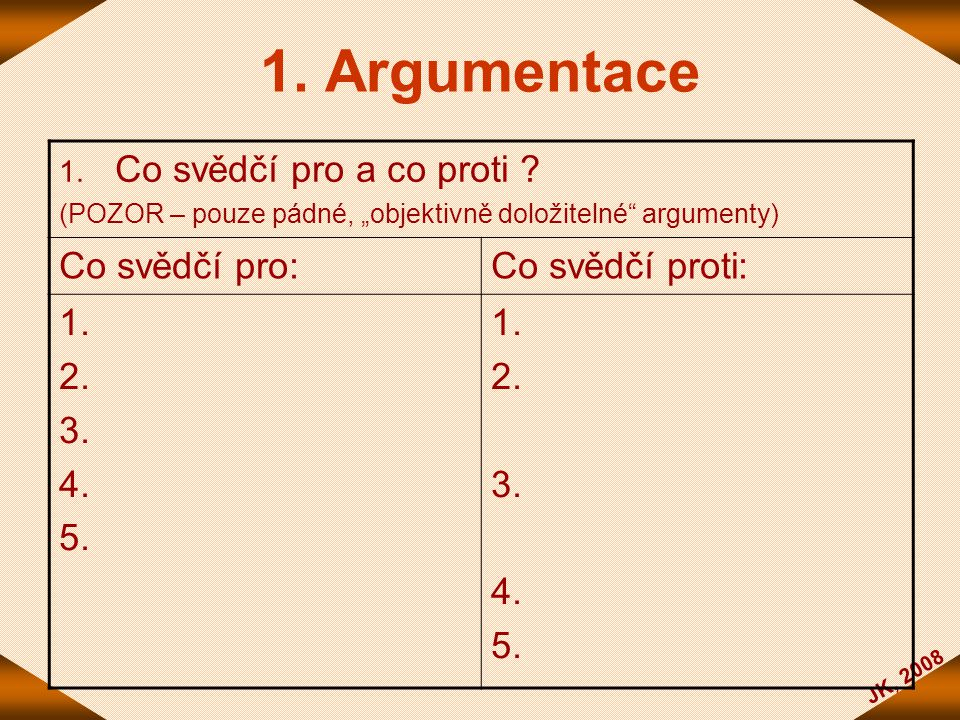 1. Argumentace Co svědčí pro a co proti Co svědčí pro: