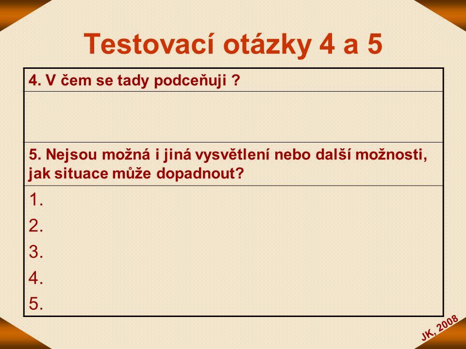 Testovací otázky 4 a 5 1. 2. 3. 4. 5. 4. V čem se tady podceňuji