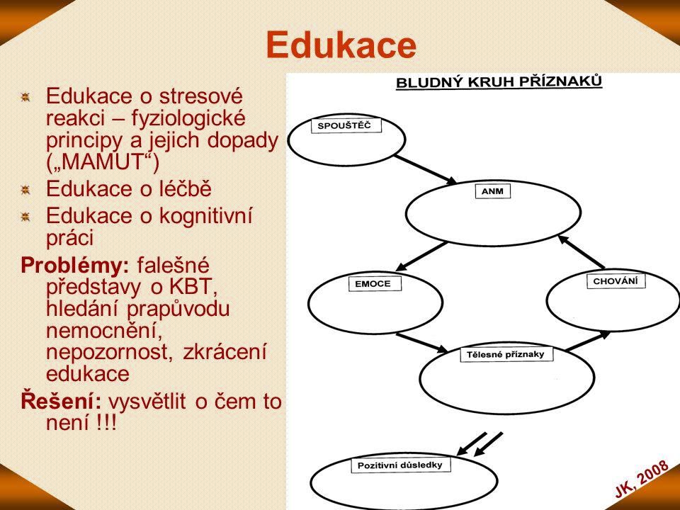 """Edukace Edukace o stresové reakci – fyziologické principy a jejich dopady (""""MAMUT ) Edukace o léčbě."""