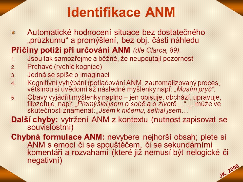 """Identifikace ANM Automatické hodnocení situace bez dostatečného """"průzkumu a promýšlení, bez obj. části náhledu."""