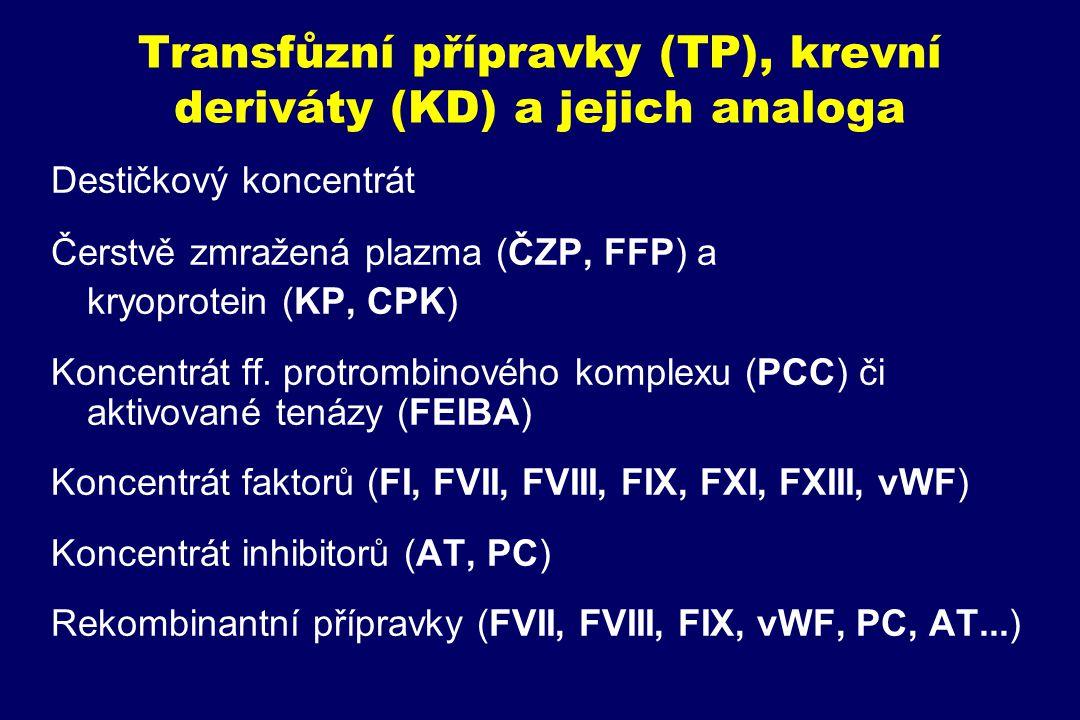 Transfůzní přípravky (TP), krevní deriváty (KD) a jejich analoga