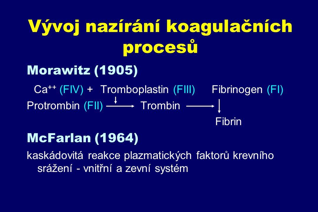 Vývoj nazírání koagulačních procesů