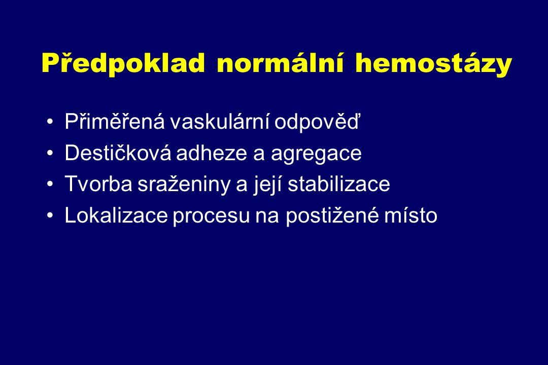Předpoklad normální hemostázy