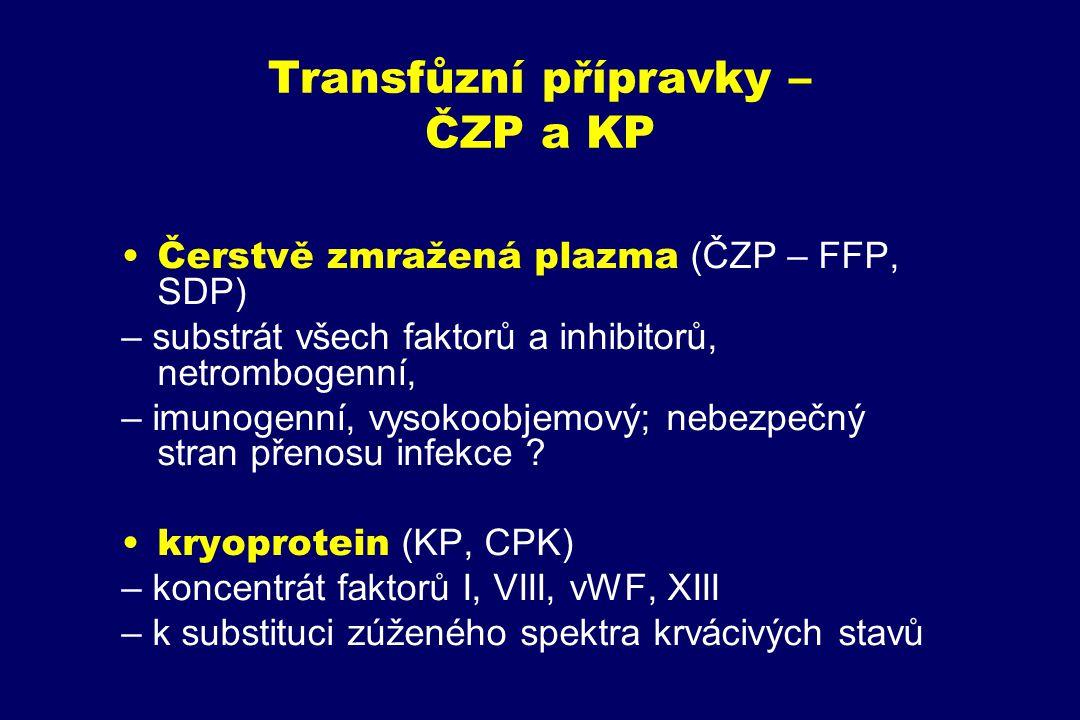 Transfůzní přípravky – ČZP a KP