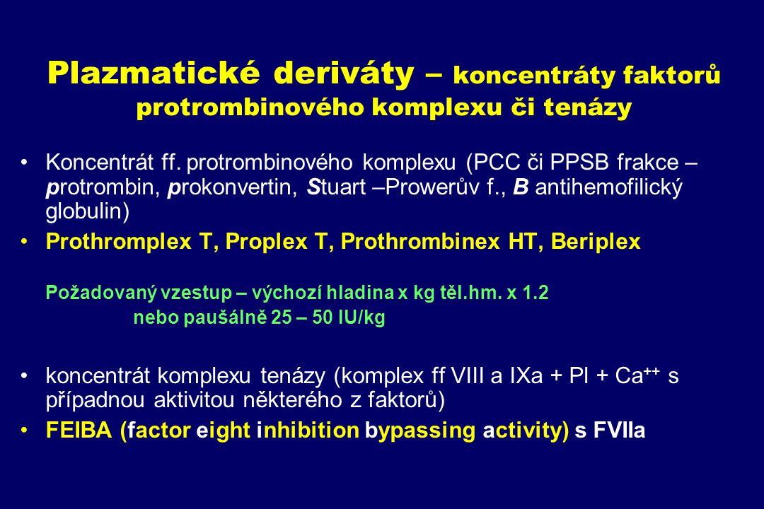 Plazmatické deriváty – koncentráty faktorů protrombinového komplexu či tenázy