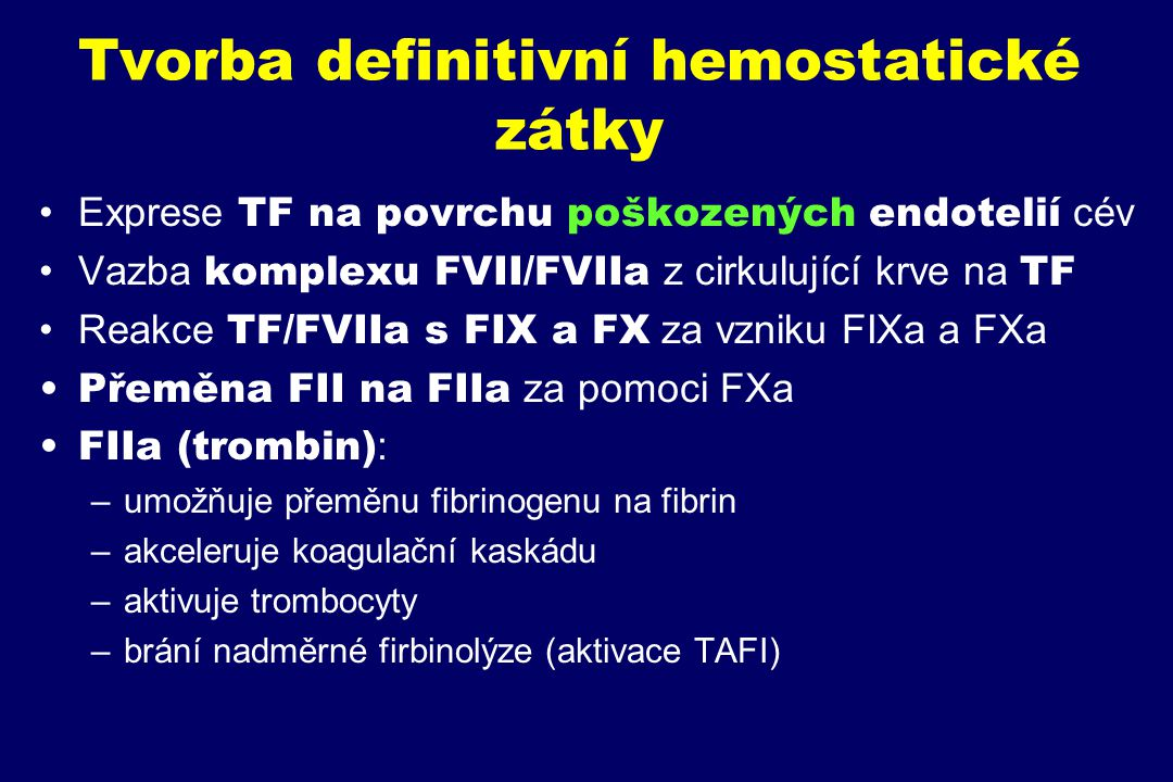 Tvorba definitivní hemostatické zátky