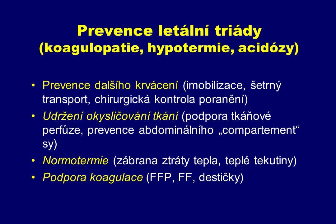 Prevence letální triády (koagulopatie, hypotermie, acidózy)