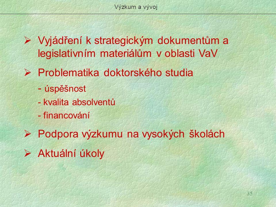 Výzkum a vývoj Vyjádření k strategickým dokumentům a legislativním materiálům v oblasti VaV.