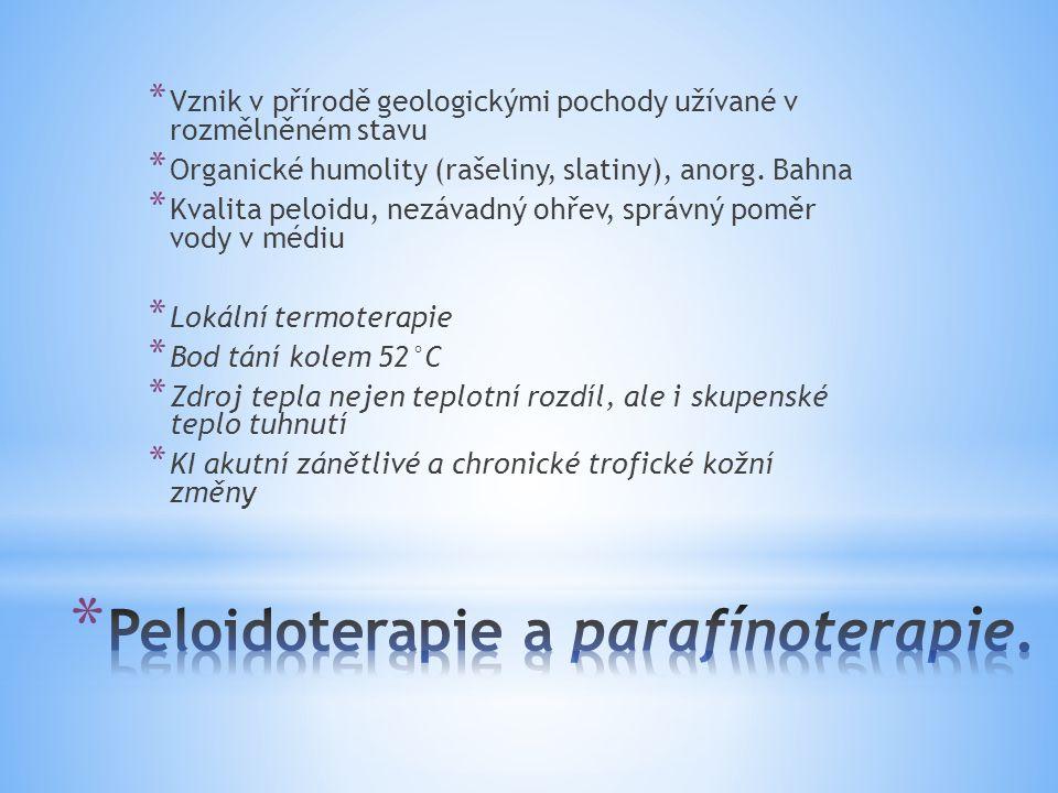 Peloidoterapie a parafínoterapie.
