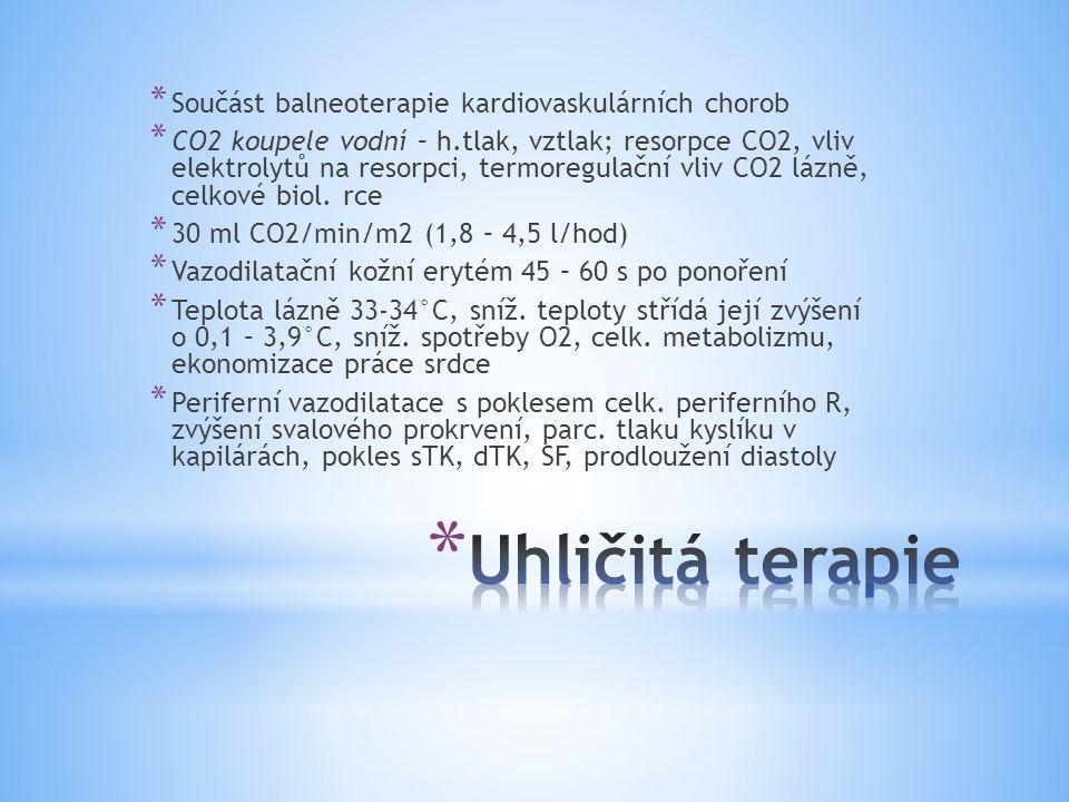 Uhličitá terapie Součást balneoterapie kardiovaskulárních chorob