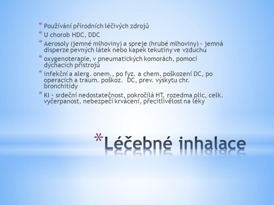 Léčebné inhalace Používání přírodních léčivých zdrojů