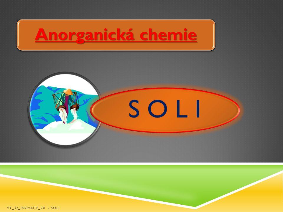 Anorganická chemie S O L I VY_32_INOVACE_20 - SOLI