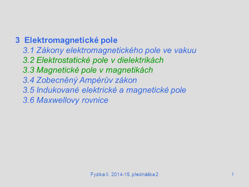 3 Elektromagnetické pole 3.1 Zákony elektromagnetického pole ve vakuu