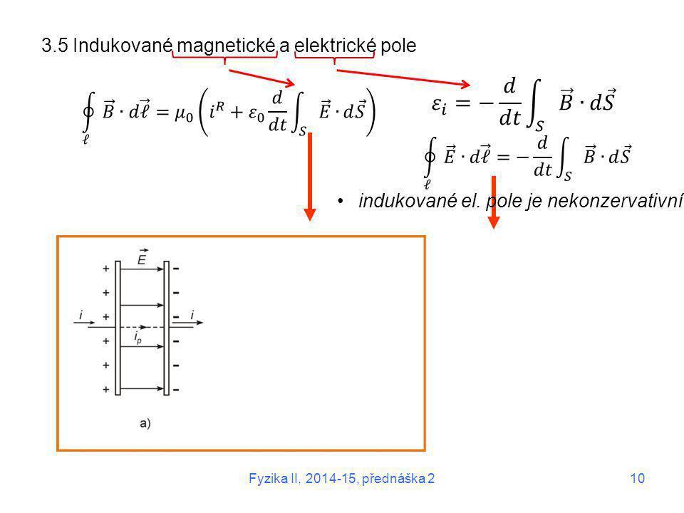 𝜀 𝑖 =− 𝑑 𝑑𝑡 𝑆 𝐵 ∙ 𝑑 𝑆 3.5 Indukované magnetické a elektrické pole