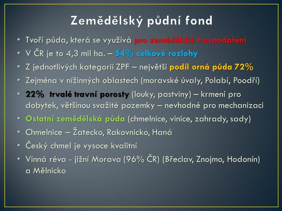 Zemědělský půdní fond Tvoří půda, která se využívá pro zemědělské hospodaření. V ČR je to 4,3 mil ha. – 54% celkové rozlohy.
