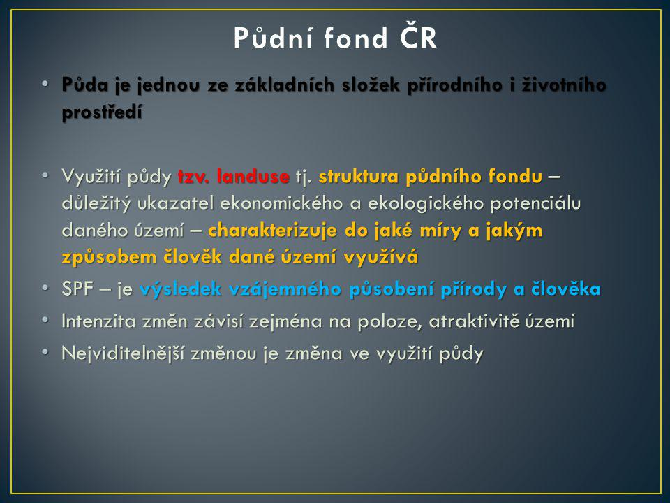 Půdní fond ČR Půda je jednou ze základních složek přírodního i životního prostředí.