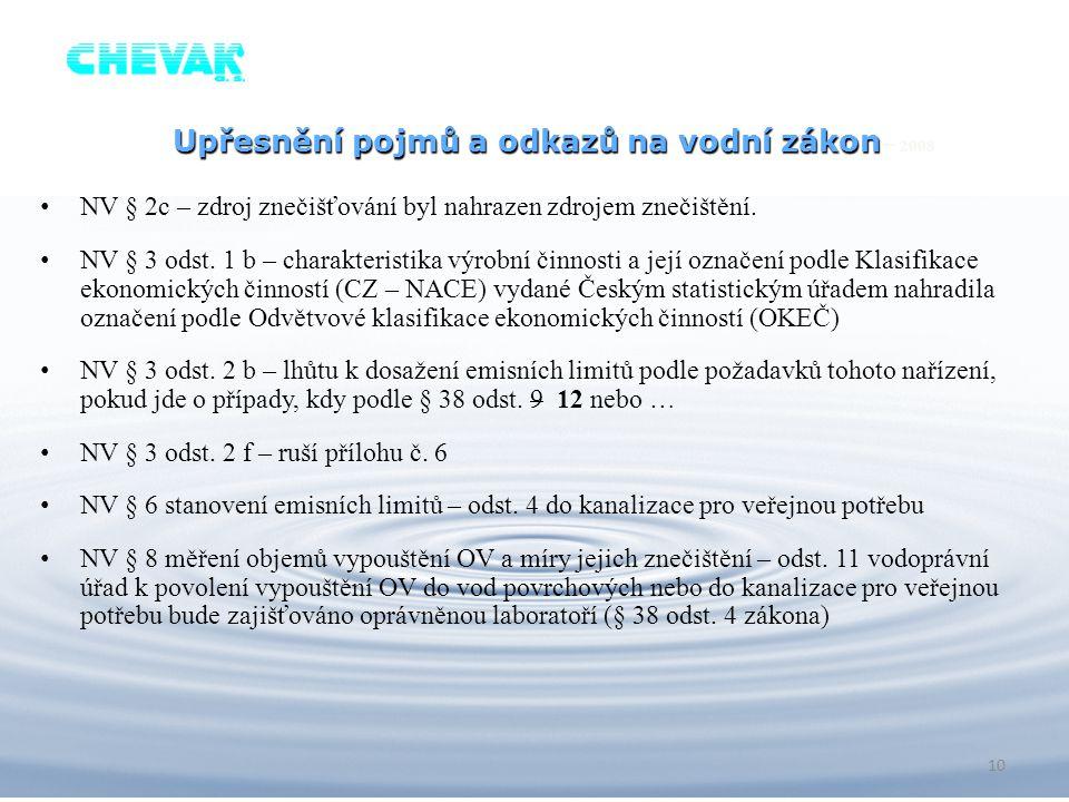 Upřesnění pojmů a odkazů na vodní zákon– 2008