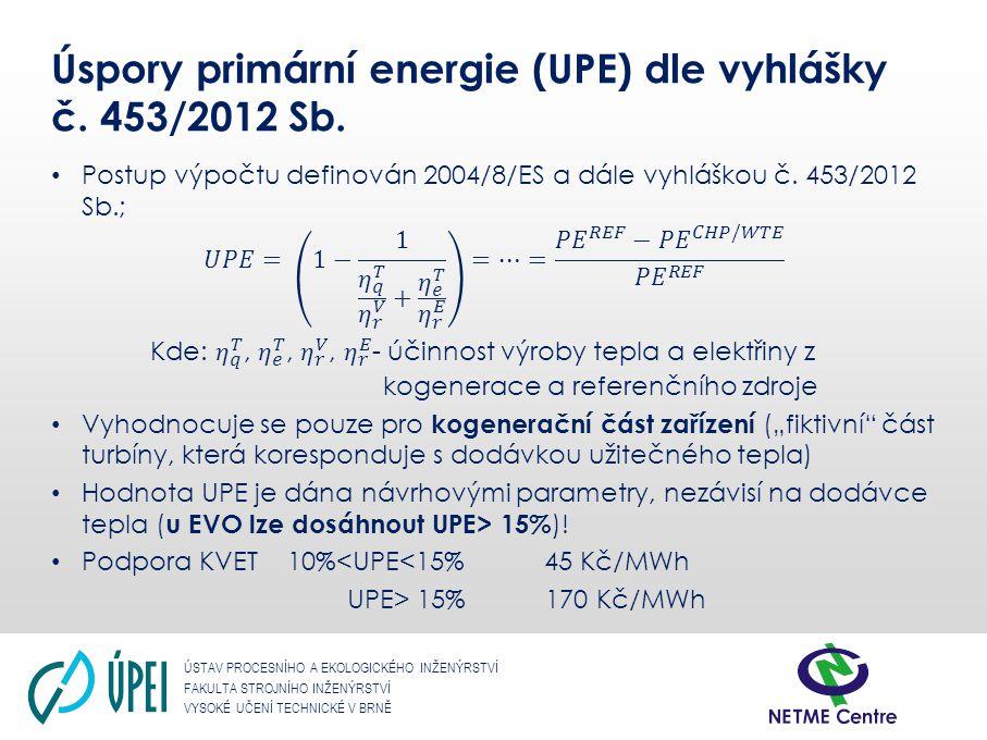 Úspory primární energie (UPE) dle vyhlášky č. 453/2012 Sb.